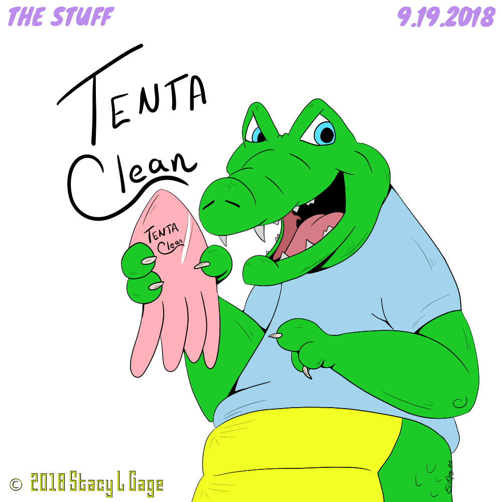 The STUFF: Number 116: Tenta Clean!  An Allagator villian does a Billy Mays pose to hawk the evil Tenta-Clean